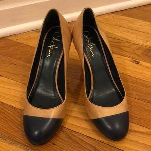 Cole Haan Nike Air heels in Tan & Navy Colorblock